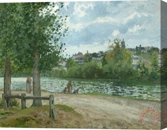 Camille Pissarro The Banks of the Oise at Pontoise Stretched Canvas Print / Canvas Art