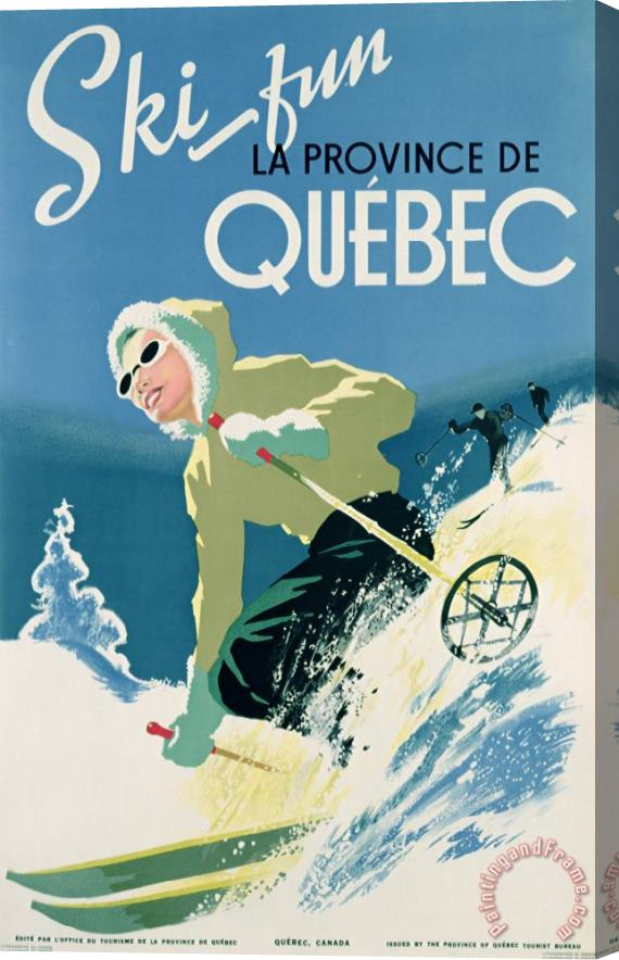 Canadian School Poster Advertising Skiing Holidays In The Province Of Quebec Stretched Canvas Print / Canvas Art