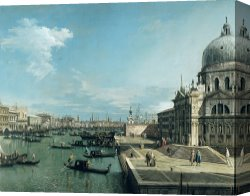 Santa Canvas Prints - The Entrance to the Grand Canal and the church of Santa Maria della Salute by Canaletto
