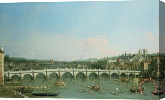 Canaletto Westminster Bridge from the North with Lambeth Palace in distance Stretched Canvas Print / Canvas Art