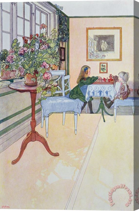 Carl Larsson A Game Of Chess Stretched Canvas Print / Canvas Art