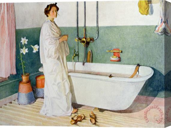 Carl Larsson Bathroom Scene Lisbeth Stretched Canvas Painting / Canvas Art