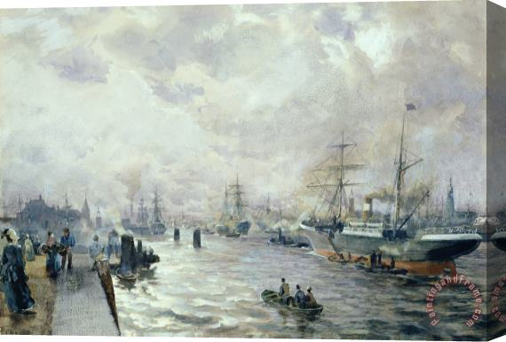 Carl Rodeck Sailing Ships in the Port of Hamburg Stretched Canvas Print / Canvas Art