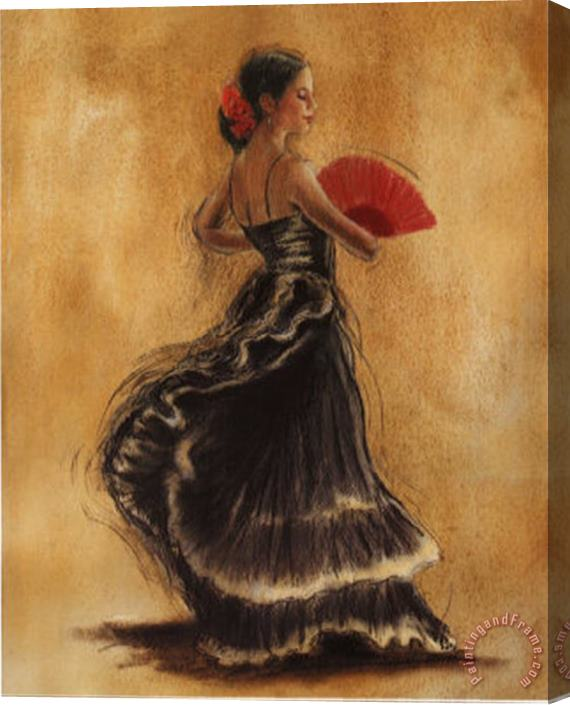 Caroline Gold Flamenco Dancer II Stretched Canvas Print / Canvas Art