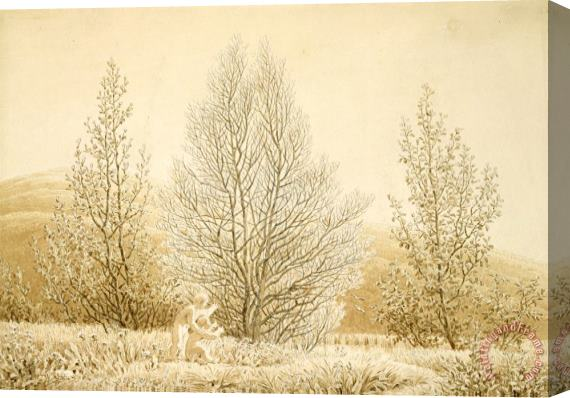 Caspar David Friedrich Spring (sepia Ink And Pencil on Paper) Stretched Canvas Print / Canvas Art