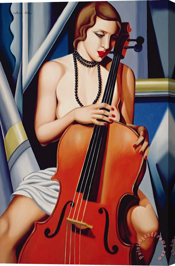 Catherine Abel Woman with Cello Stretched Canvas Print / Canvas Art