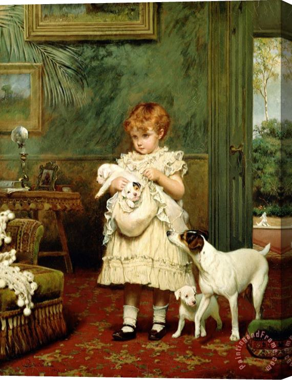 Charles Burton Barber Girl with Dogs Stretched Canvas Print / Canvas Art