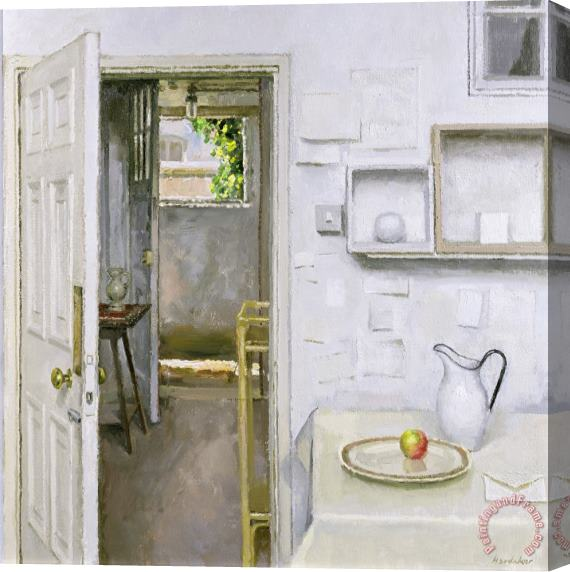 Charles E Hardaker Open Doors With Still Life And Letter Stretched Canvas Print / Canvas Art