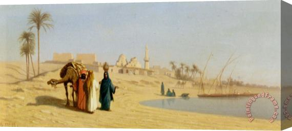 Charles Theodore Frere The Banks of The Nile Stretched Canvas Print / Canvas Art