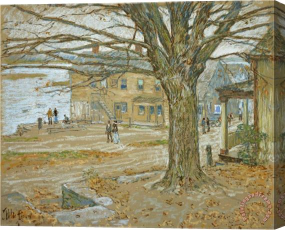 Childe Hassam November Cos Cob Pastel on Prepared Tan Board 1902 Stretched Canvas Print / Canvas Art