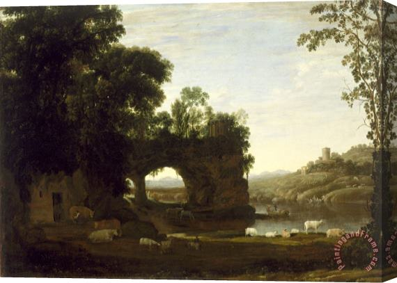 Claude Lorrain Landscape with a Rock Arch And River Stretched Canvas Print / Canvas Art