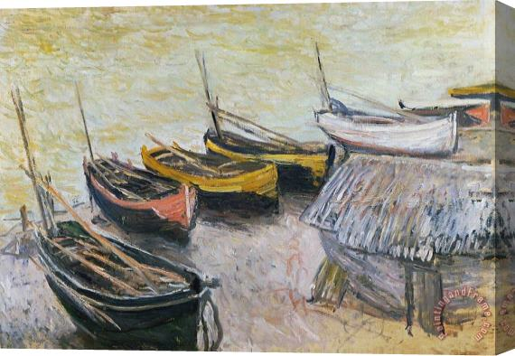 Claude Monet Boats on the Beach Stretched Canvas Print / Canvas Art