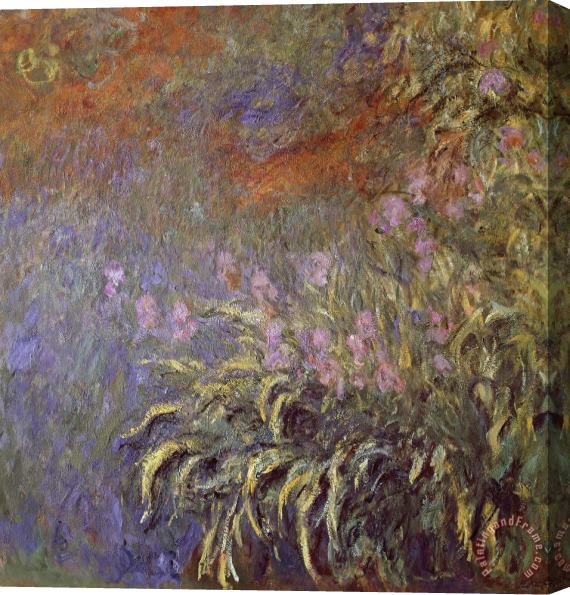 Claude Monet Iris In Pond Stretched Canvas Print / Canvas Art
