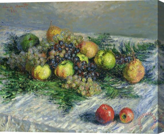 Claude Monet Still Life With Pears And Grapes Stretched Canvas Print / Canvas Art