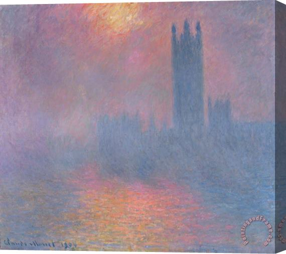 Claude Monet The Houses of Parliament London Stretched Canvas Print / Canvas Art