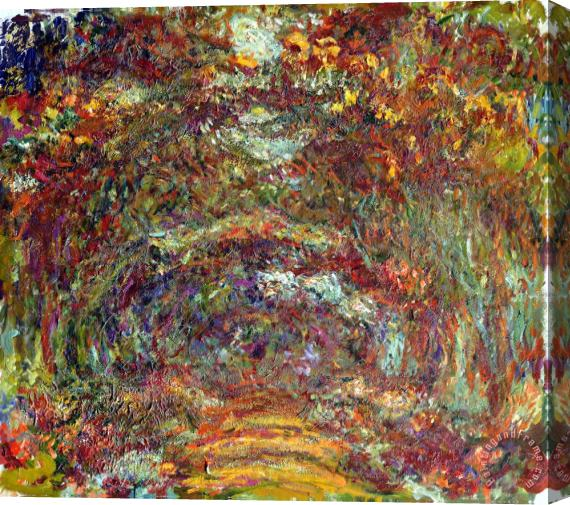 Claude Monet The Rose Path Giverny Stretched Canvas Print / Canvas Art