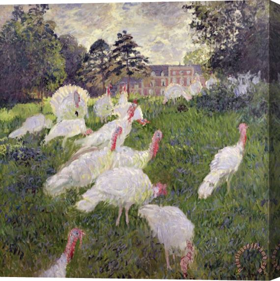 Claude Monet The Turkeys at the Chateau de Rottembourg Stretched Canvas Print / Canvas Art