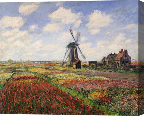 Claude Monet Tulip Fields with the Rijnsburg Windmill Stretched Canvas Print / Canvas Art