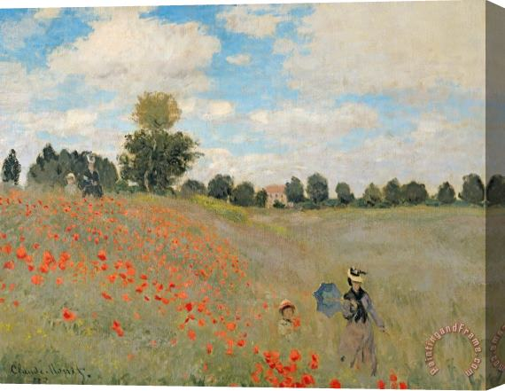Claude Monet Wild Poppies near Argenteuil Stretched Canvas Print / Canvas Art
