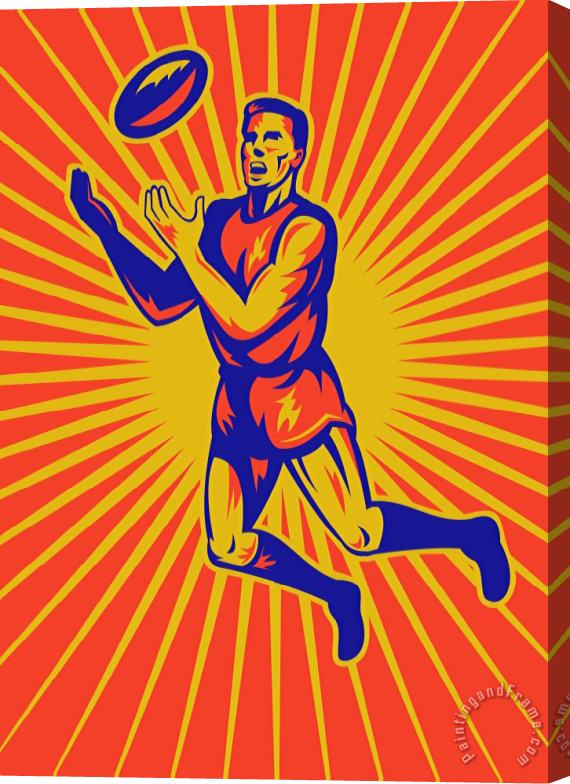 Collection 10 Aussie Rules Player Jumping Ball Stretched Canvas Print / Canvas Art
