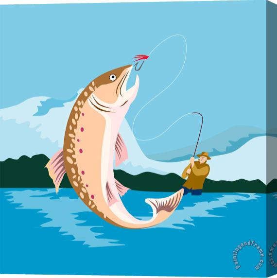 Collection 10 Fly fisherman catching trout Stretched Canvas Print / Canvas Art