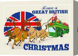 Santa Canvas Prints - Great British Christmas Santa Reindeer Doube Decker Bus by Collection 10