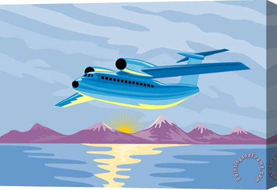Collection 10 Retro Airliner flying Stretched Canvas Print / Canvas Art