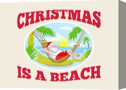 Santa Canvas Prints - Santa Claus Father Christmas Beach Relaxing by Collection 10