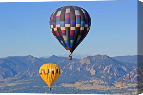 Collection 14 2 Balloons Flying Over the Flatirons Stretched Canvas Print / Canvas Art