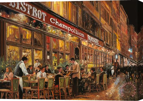 Collection 7 Bistrot Champollion Stretched Canvas Print / Canvas Art