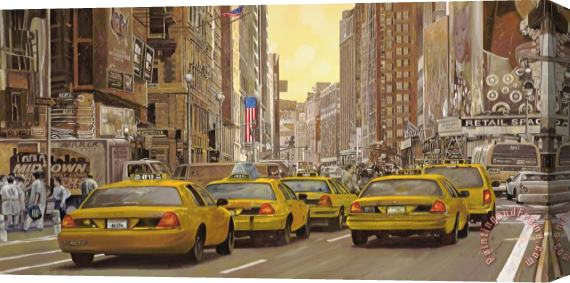 Collection 7 taxi a New York Stretched Canvas Print / Canvas Art