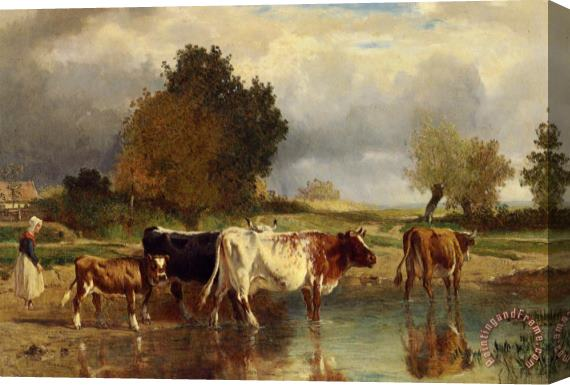 Constant Troyon Vaches at Veau a La Marne Stretched Canvas Print / Canvas Art