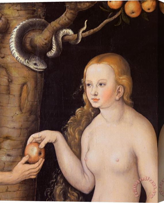 Cranach Eve offering the apple to Adam in the Garden of Eden and the serpent Stretched Canvas Print / Canvas Art