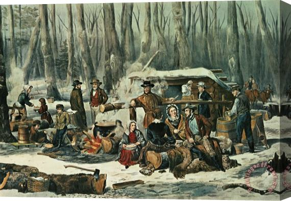 Currier and Ives American Forest Scene Stretched Canvas Print / Canvas Art