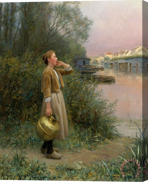 Daniel Ridgway Knight Girl with Water Jug Stretched Canvas Print / Canvas Art