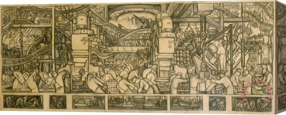 Diego Rivera Presentation Drawing Of The Automotive Panel For The North Wall Of The Detroit Industry Mural Stretched Canvas Print / Canvas Art