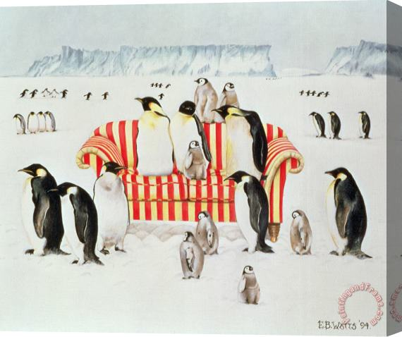 EB Watts Penguins On A Red And White Sofa Stretched Canvas Print / Canvas Art
