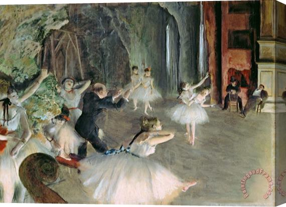 Edgar Degas The Rehearsal of the Ballet on Stage Stretched Canvas Print / Canvas Art