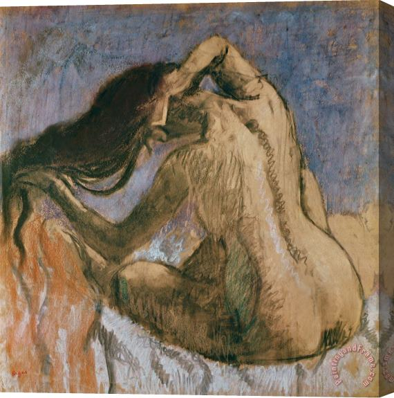 Edgar Degas Woman Combing her Hair Stretched Canvas Painting / Canvas Art