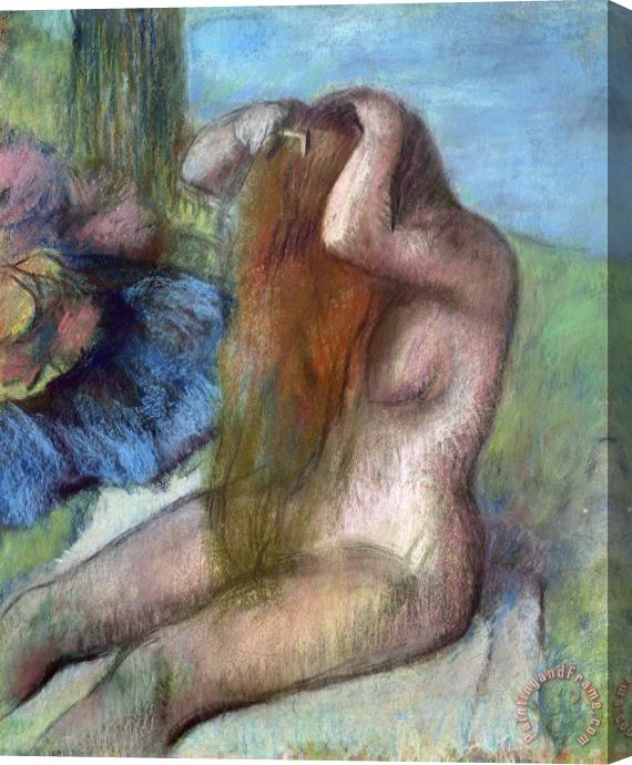 Edgar Degas Woman doing her Hair Stretched Canvas Print / Canvas Art
