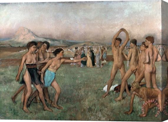 Edgar Degas Young Spartans Exercising Stretched Canvas Print / Canvas Art