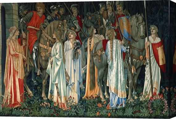 Edward Burne Jones The Arming And Departure of The Knights of The Round Table on The Quest of The Holy Grail Stretched Canvas Print / Canvas Art