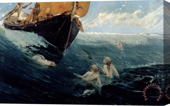 Edward Matthew Hale The Mermaid's Rock Stretched Canvas Print / Canvas Art