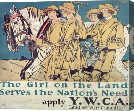 Edward Penfield World War I YWCA poster Stretched Canvas Print / Canvas Art
