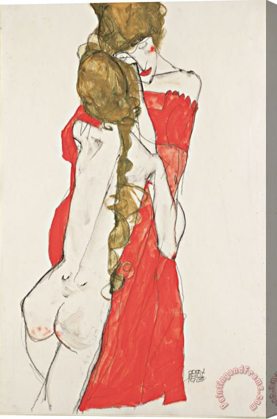 Egon Schiele Mother And Daughter Stretched Canvas Print / Canvas Art