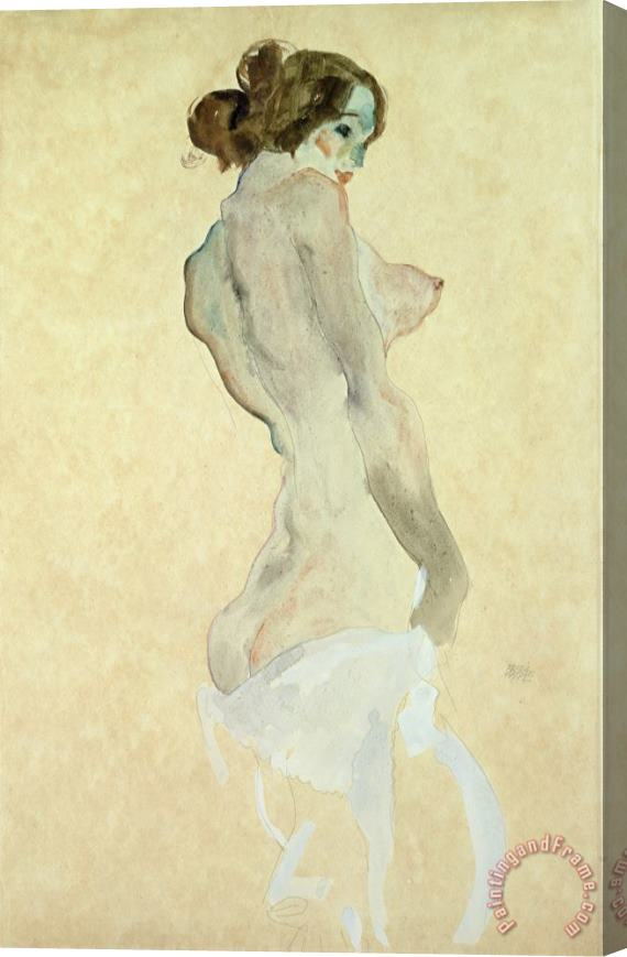 Egon Schiele Standing Female Nude Stretched Canvas Painting / Canvas Art