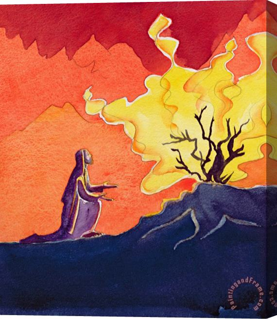 Elizabeth Wang God speaks to Moses from the burning bush Stretched Canvas Print / Canvas Art