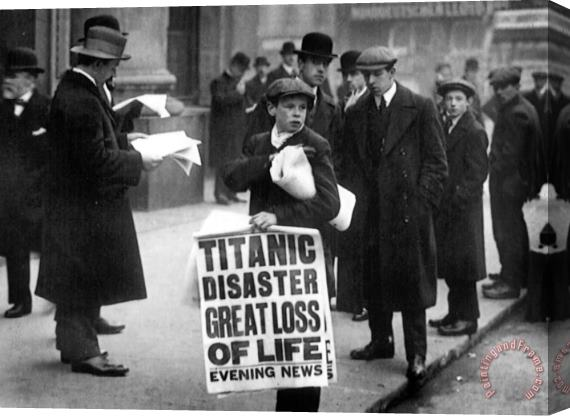 English School Newsboy Ned Parfett announcing the sinking of the Titanic Stretched Canvas Print / Canvas Art