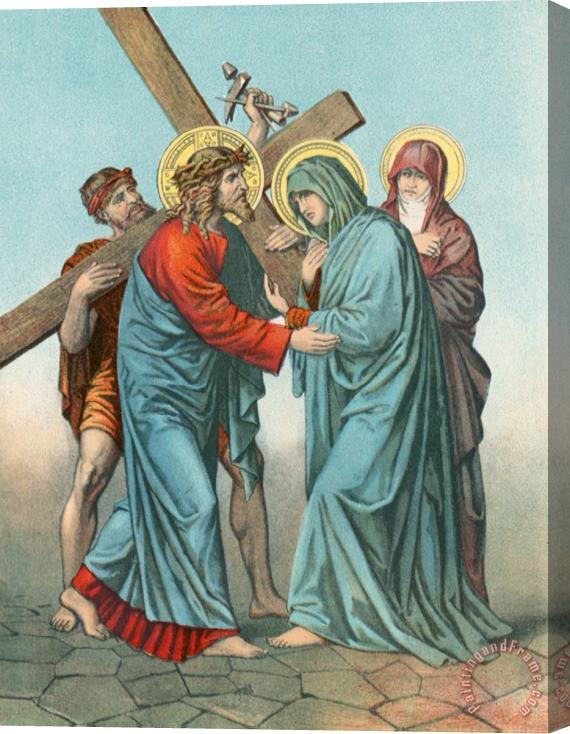 English School Station IV Jesus Carrying the Cross Meets his most Afflicted Mother Stretched Canvas Print / Canvas Art