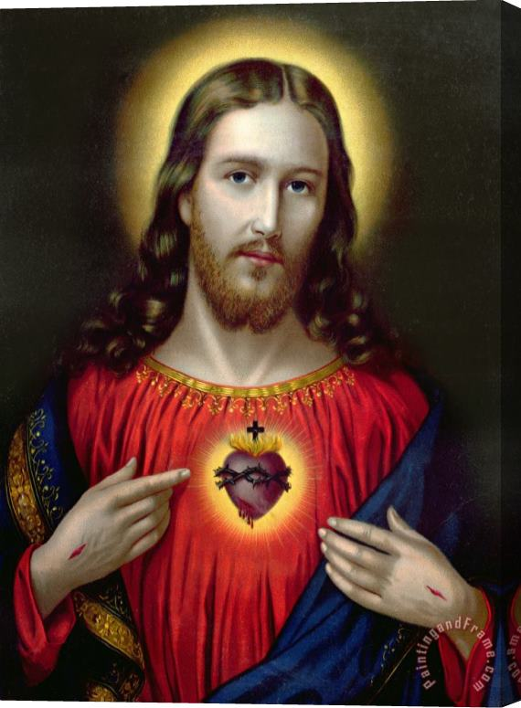 English School The Sacred Heart of Jesus Stretched Canvas Painting / Canvas Art